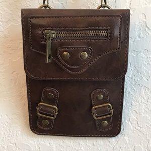 Vintage mini crossbody purse brown military vibes